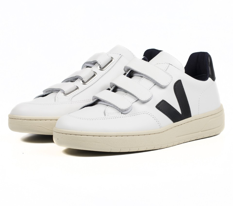 V-12 VELCRO LEATHER EXTRA WHITE BLACK