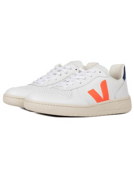 V-10 LEATHER EXTRA WHTE ORANGE FLUO COBALT
