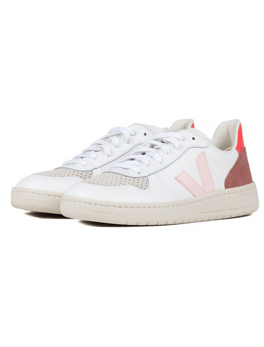 V10 LEATHER EXTRA WHITE PETALE ROSE FLUO